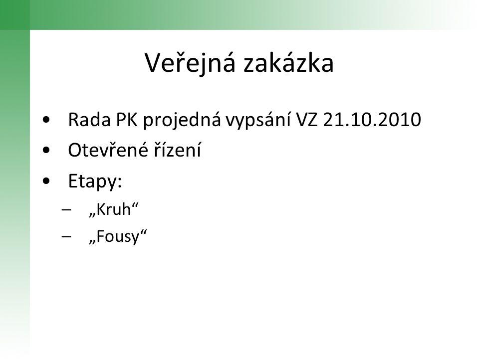 """Veřejná zakázka •Rada PK projedná vypsání VZ 21.10.2010 •Otevřené řízení •Etapy: –""""Kruh"""" –""""Fousy"""""""