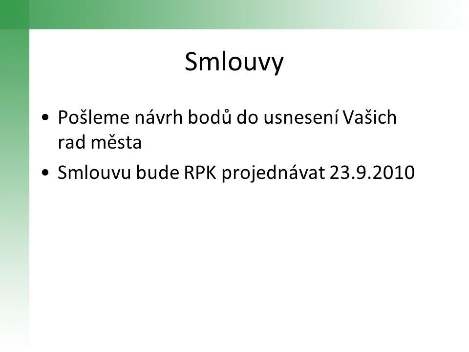 Smlouvy •Pošleme návrh bodů do usnesení Vašich rad města •Smlouvu bude RPK projednávat 23.9.2010