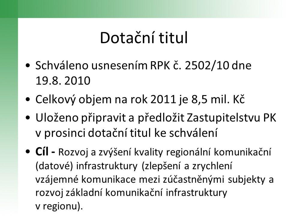 Dotační titul •Schváleno usnesením RPK č. 2502/10 dne 19.8. 2010 •Celkový objem na rok 2011 je 8,5 mil. Kč •Uloženo připravit a předložit Zastupitelst