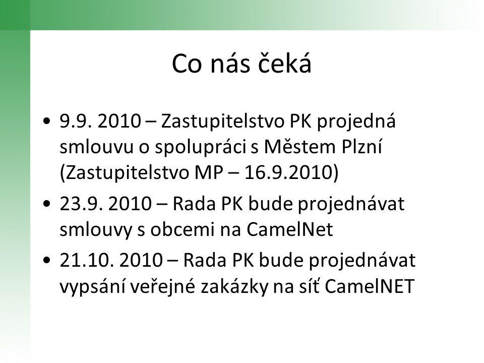 Co nás čeká •9.9. 2010 – Zastupitelstvo PK projedná smlouvu o spolupráci s Městem Plzní (Zastupitelstvo MP – 16.9.2010) •23.9. 2010 – Rada PK bude pro