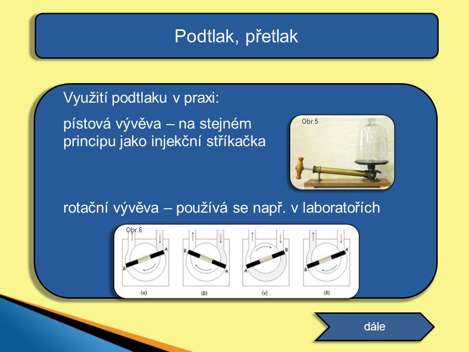 Podtlak, přetlak Využití podtlaku v praxi: pístová vývěva – na stejném principu jako injekční stříkačka rotační vývěva – používá se např. v laboratoří