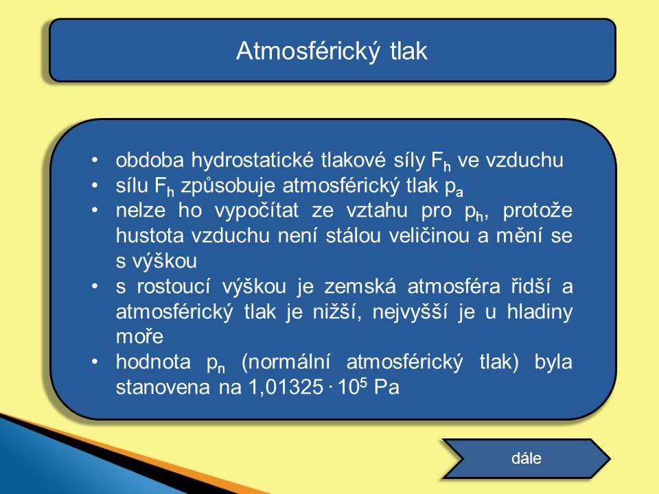 Atmosférický tlak •obdoba hydrostatické tlakové síly F h ve vzduchu •sílu F h způsobuje atmosférický tlak p a •nelze ho vypočítat ze vztahu pro p h, p