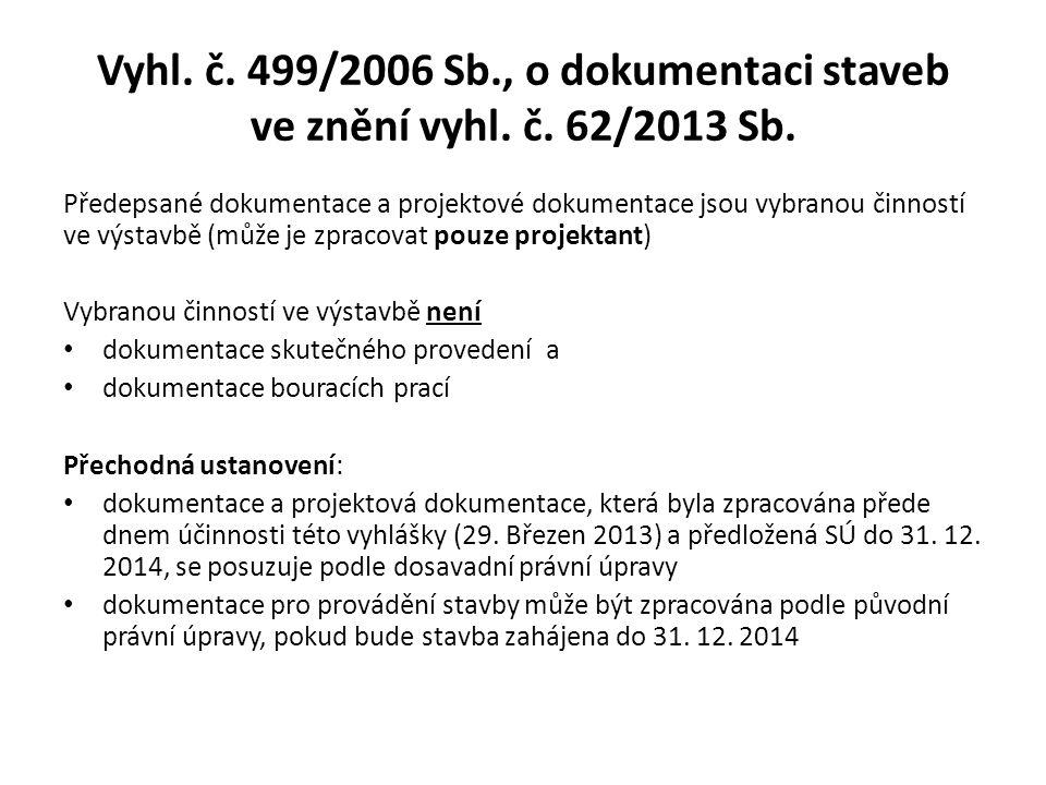 Vyhl.č. 499/2006 Sb., o dokumentaci staveb ve znění vyhl.