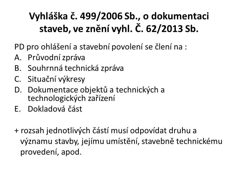 Vyhláška č.499/2006 Sb., o dokumentaci staveb, ve znění vyhl.