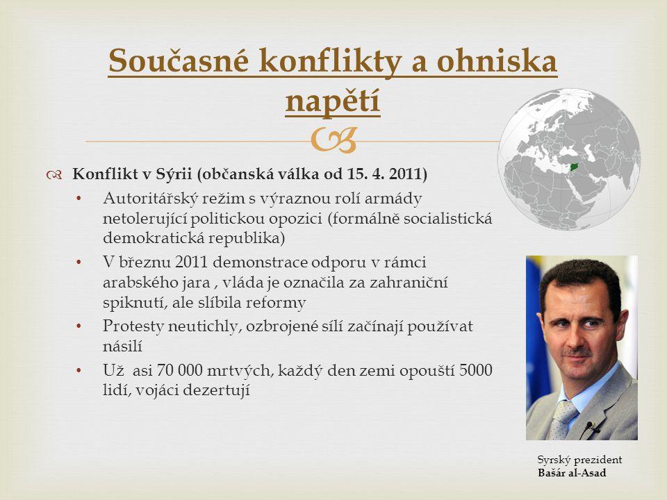   Konflikt v Sýrii (občanská válka od 15. 4. 2011) • Autoritářský režim s výraznou rolí armády netolerující politickou opozici (formálně socialistic