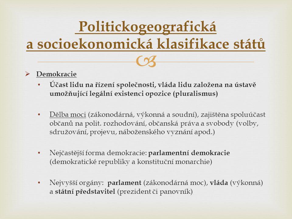   Demokracie • Účast lidu na řízení společnosti, vláda lidu založena na ústavě umožňující legální existenci opozice (pluralismus) • Dělba moci (záko