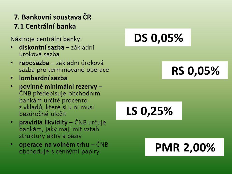 7. Bankovní soustava ČR 7.1 Centrální banka Nástroje centrální banky: • diskontní sazba – základní úroková sazba • reposazba – základní úroková sazba