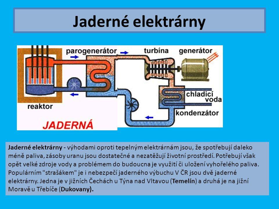 Jaderné elektrárny Jaderné elektrárny - výhodami oproti tepelným elektrárnám jsou, že spotřebují daleko méně paliva, zásoby uranu jsou dostatečné a ne