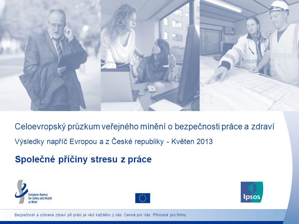 Celoevropský průzkum veřejného mínění o bezpečnosti práce a zdraví Výsledky napříč Evropou a z České republiky - Květen 2013 Společné příčiny stresu z práce Bezpečnost a ochrana zdraví při práci je věcí každého z nás.