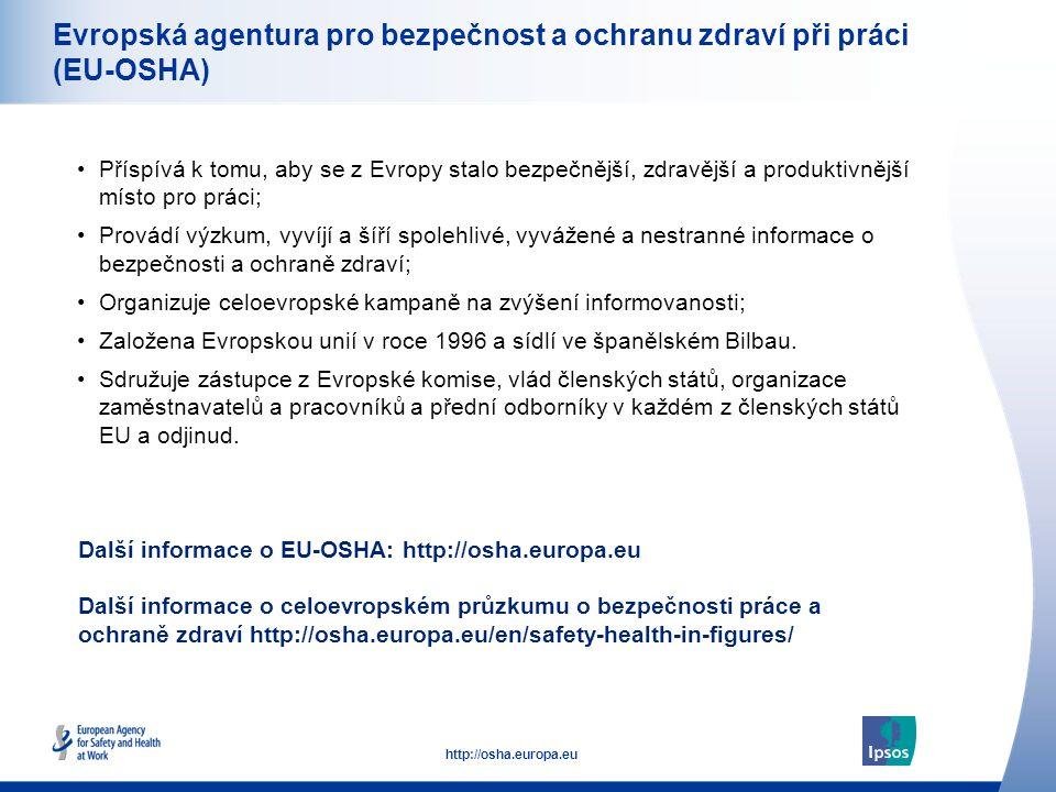 52 http://osha.europa.eu Evropská agentura pro bezpečnost a ochranu zdraví při práci (EU-OSHA) •Příspívá k tomu, aby se z Evropy stalo bezpečnější, zdravější a produktivnější místo pro práci; Provádí výzkum, vyvíjí a šíří spolehlivé, vyvážené a nestranné informace o bezpečnosti a ochraně zdraví; Organizuje celoevropské kampaně na zvýšení informovanosti; Založena Evropskou unií v roce 1996 a sídlí ve španělském Bilbau.