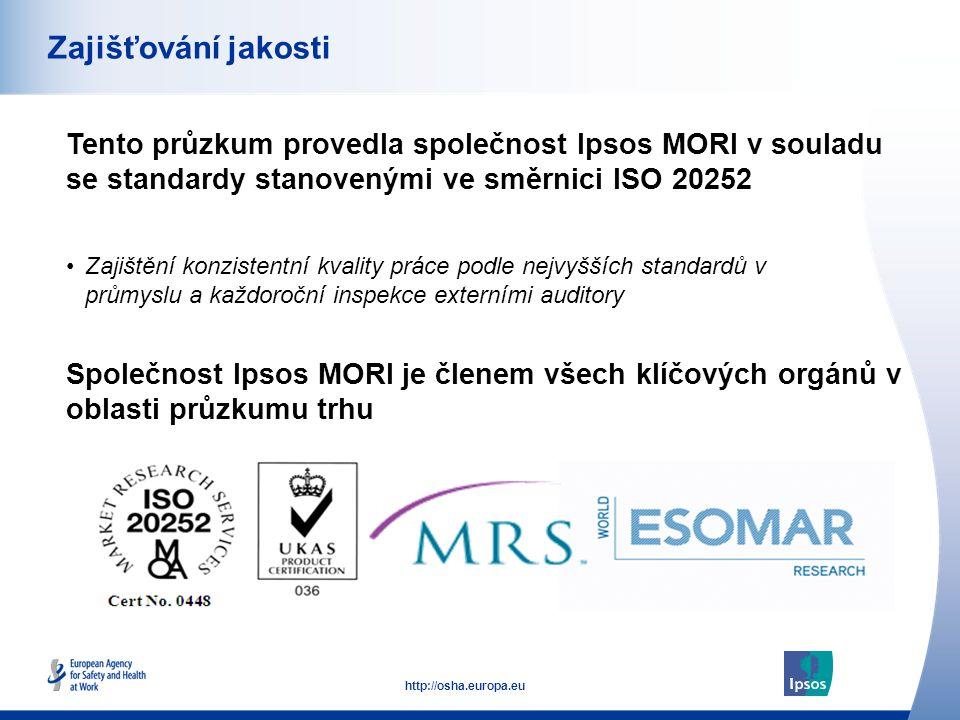 53 http://osha.europa.eu Tento průzkum provedla společnost Ipsos MORI v souladu se standardy stanovenými ve směrnici ISO 20252 Zajišťování jakosti Společnost Ipsos MORI je členem všech klíčových orgánů v oblasti průzkumu trhu •Zajištění konzistentní kvality práce podle nejvyšších standardů v průmyslu a každoroční inspekce externími auditory