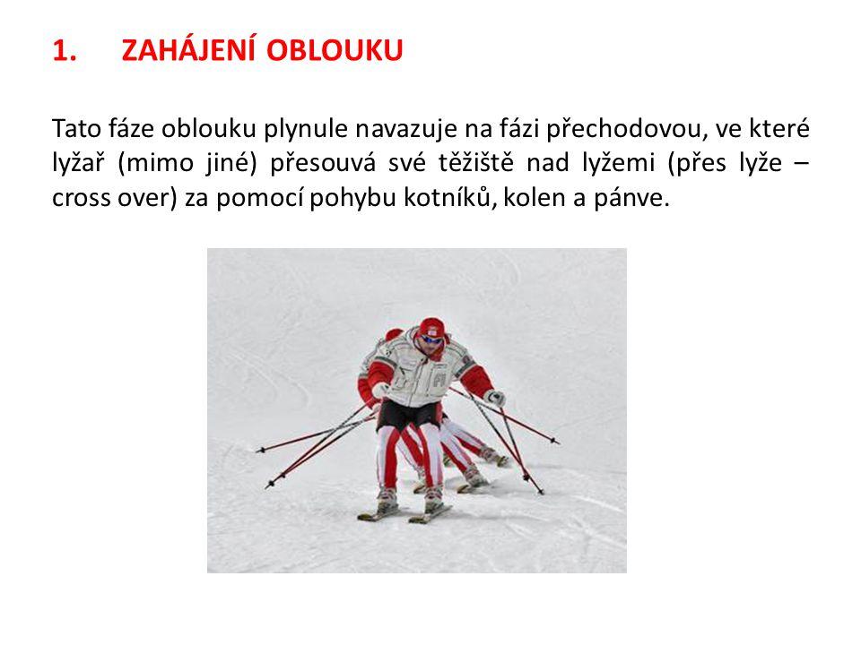 1.ZAHÁJENÍ OBLOUKU Tato fáze oblouku plynule navazuje na fázi přechodovou, ve které lyžař (mimo jiné) přesouvá své těžiště nad lyžemi (přes lyže – cro