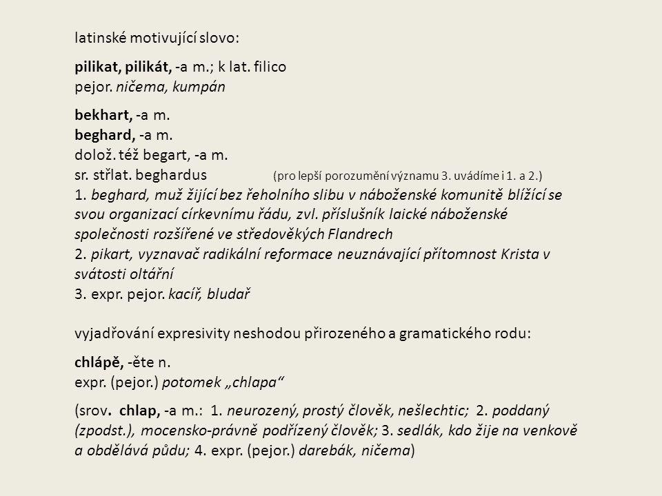 latinské motivující slovo: pilikat, pilikát, -a m.; k lat.