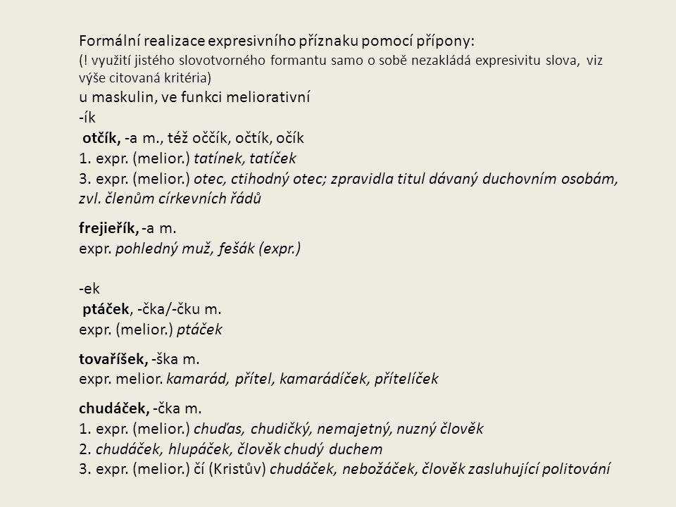 Formální realizace expresivního příznaku pomocí přípony: (.