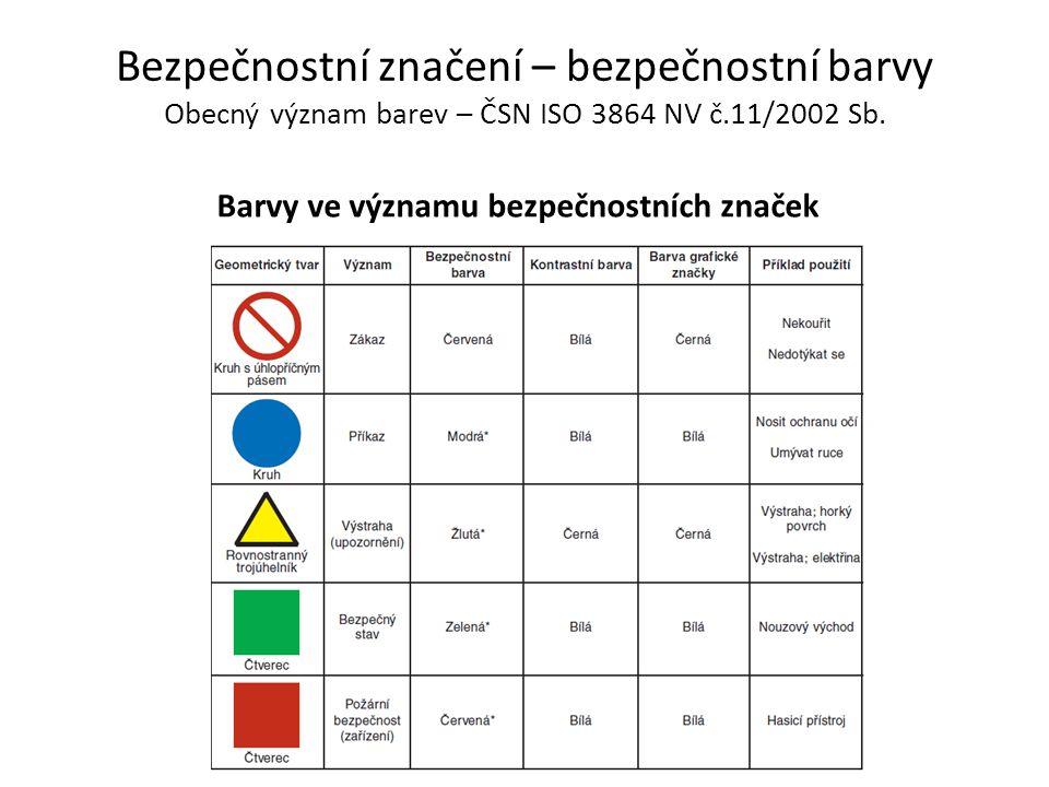 Bezpečnostní značení – bezpečnostní barvy Obecný význam barev – ČSN ISO 3864 NV č.11/2002 Sb. Barvy ve významu bezpečnostních značek