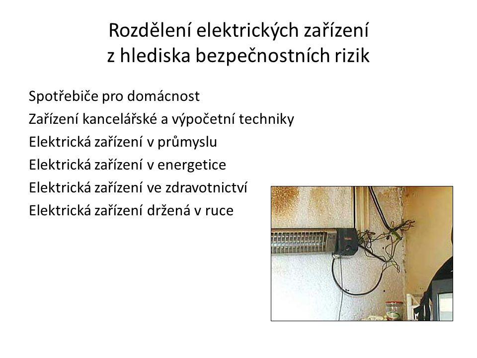 Rozdělení elektrických zařízení z hlediska bezpečnostních rizik Spotřebiče pro domácnost Zařízení kancelářské a výpočetní techniky Elektrická zařízení v průmyslu Elektrická zařízení v energetice Elektrická zařízení ve zdravotnictví Elektrická zařízení držená v ruce