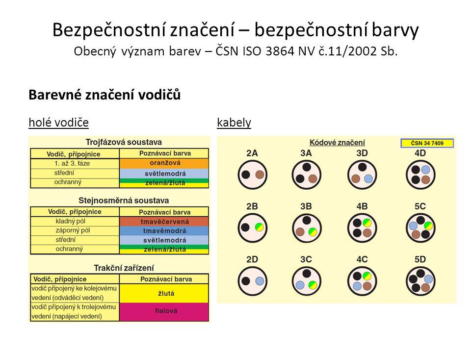 Bezpečnostní značení – bezpečnostní barvy Obecný význam barev – ČSN ISO 3864 NV č.11/2002 Sb. Barevné značení vodičů holé vodičekabely