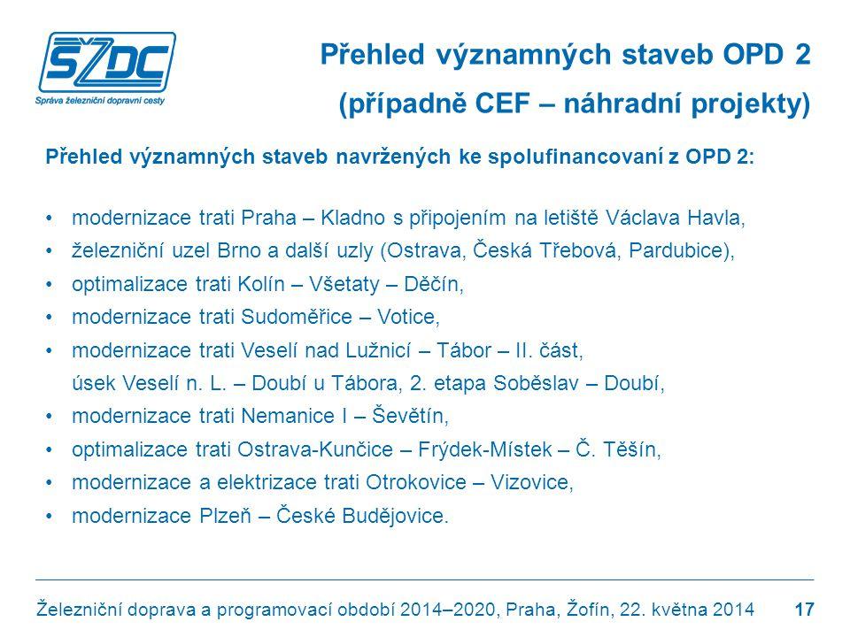 Přehled významných staveb navržených ke spolufinancovaní z OPD 2: •modernizace trati Praha – Kladno s připojením na letiště Václava Havla, •železniční