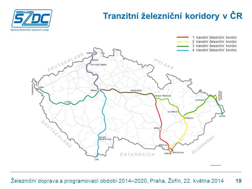Tranzitní železniční koridory v ČR Železniční doprava a programovací období 2014–2020, Praha, Žofín, 22. května 2014 19 1. tranzitní železniční korido