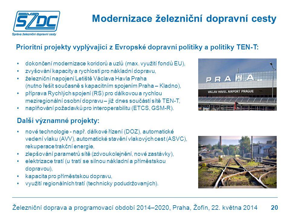 Prioritní projekty vyplývající z Evropské dopravní politiky a politiky TEN-T: •dokončení modernizace koridorů a uzlů (max. využití fondů EU), •zvyšová