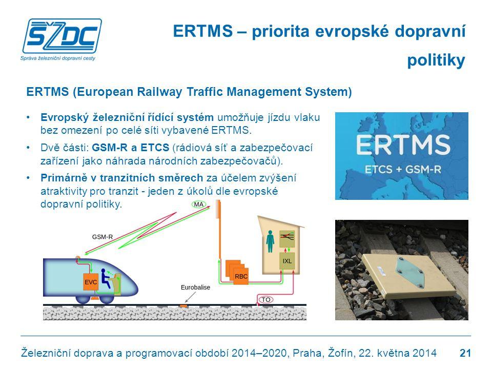 ERTMS – priorita evropské dopravní politiky •Evropský železniční řídící systém umožňuje jízdu vlaku bez omezení po celé síti vybavené ERTMS. •Dvě část