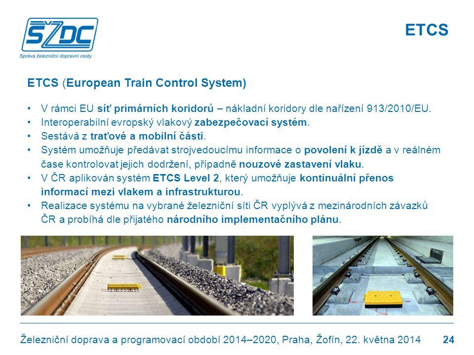ETCS (European Train Control System) •V rámci EU síť primárních koridorů – nákladní koridory dle nařízení 913/2010/EU. •Interoperabilní evropský vlako