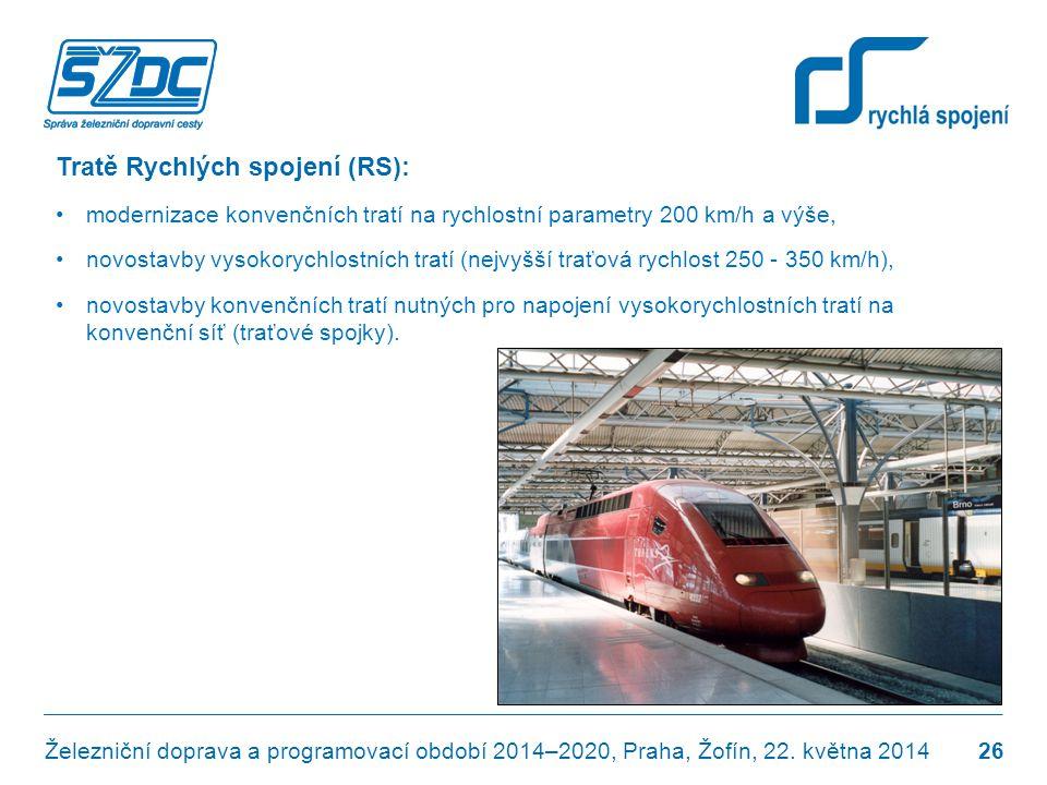 Tratě Rychlých spojení (RS): •modernizace konvenčních tratí na rychlostní parametry 200 km/h a výše, •novostavby vysokorychlostních tratí (nejvyšší tr