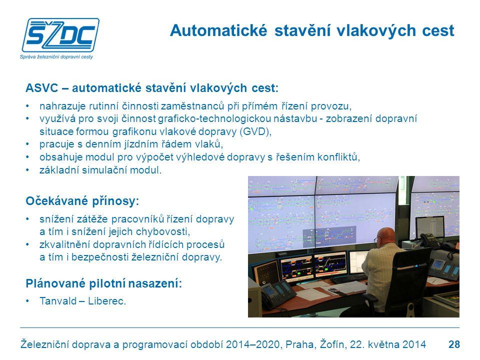 Automatické stavění vlakových cest ASVC – automatické stavění vlakových cest: •nahrazuje rutinní činnosti zaměstnanců při přímém řízení provozu, •využ