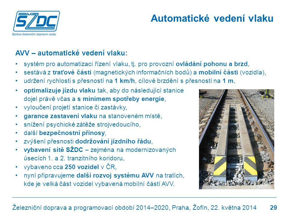 Automatické vedení vlaku AVV – automatické vedení vlaku: •systém pro automatizaci řízení vlaku, tj. pro provozní ovládání pohonu a brzd, •sestává z tr
