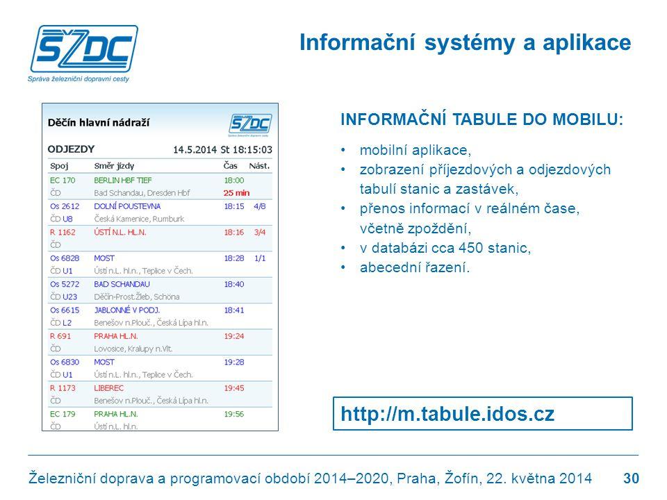 Informační systémy a aplikace Železniční doprava a programovací období 2014–2020, Praha, Žofín, 22. května 2014 http://m.tabule.idos.cz 30 INFORMAČNÍ
