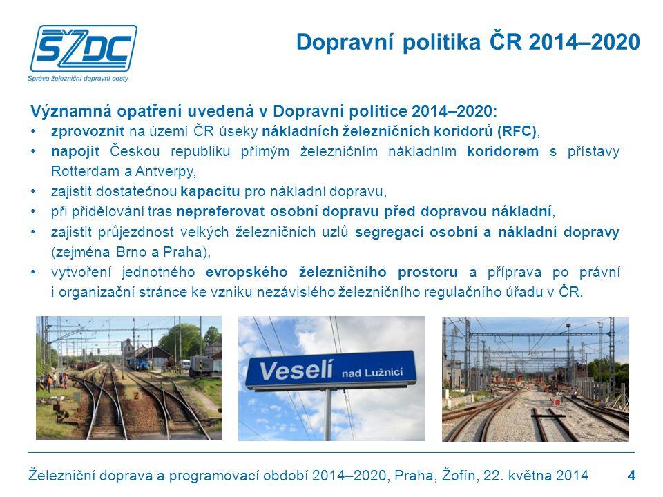 Dopravní politika ČR 2014–2020 Významná opatření uvedená v Dopravní politice 2014–2020: •zprovoznit na území ČR úseky nákladních železničních koridorů