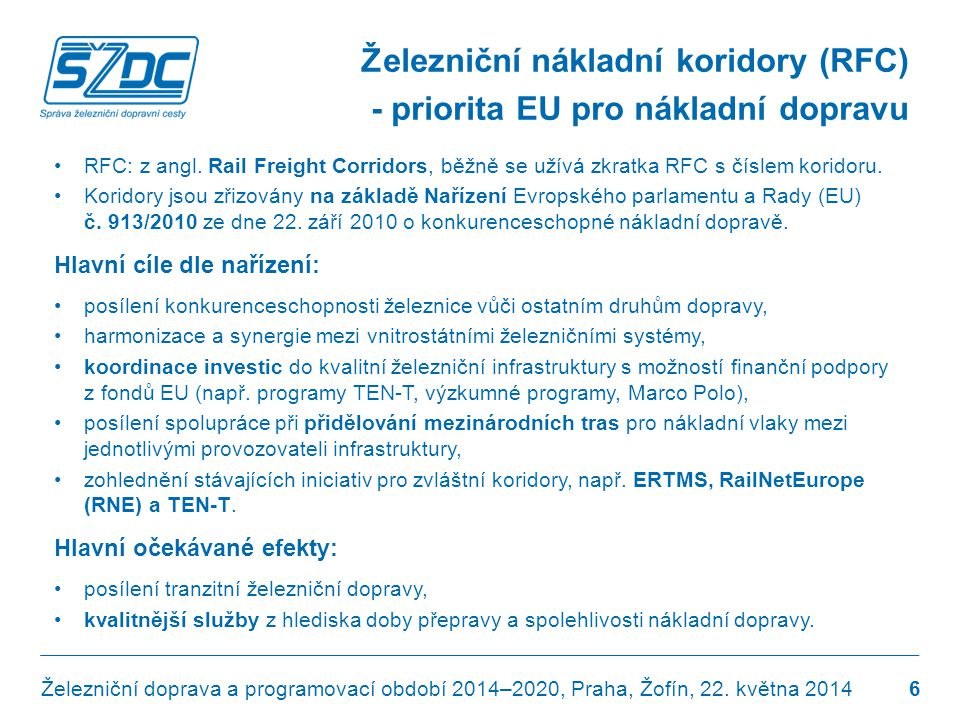 Zapojení ČR a SŽDC do sítě koridorů RFC Železniční doprava a programovací období 2014–2020, Praha, Žofín, 22.