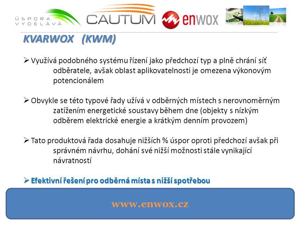 www.enwox.cz KVARWOX (KWM)  Využívá podobného systému řízení jako předchozí typ a plně chrání síť odběratele, avšak oblast aplikovatelnosti je omezena výkonovým potencionálem  Obvykle se této typové řady užívá v odběrných místech s nerovnoměrným zatížením energetické soustavy během dne (objekty s nízkým odběrem elektrické energie a krátkým denním provozem)  Tato produktová řada dosahuje nižších % úspor oproti předchozí avšak při správném návrhu, dohání své nižší možnosti stále vynikající návratností  Efektivní řešení pro odběrná místa s nižší spotřebou