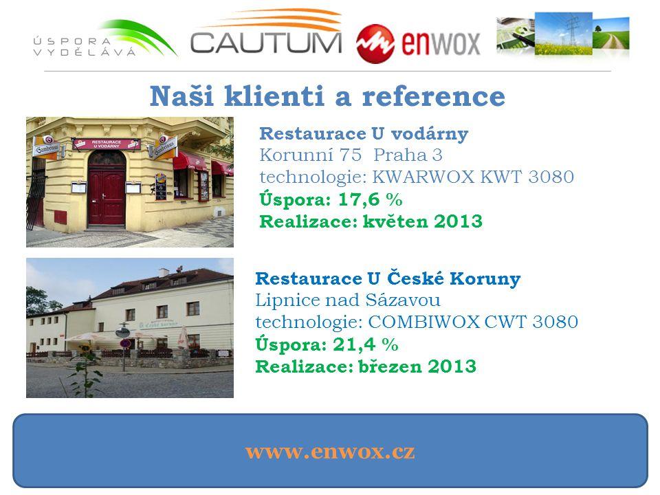 www.enwox.cz Naši klienti a reference Restaurace U vodárny Korunní 75 Praha 3 technologie: KWARWOX KWT 3080 Úspora: 17,6 % Realizace: květen 2013 Rest