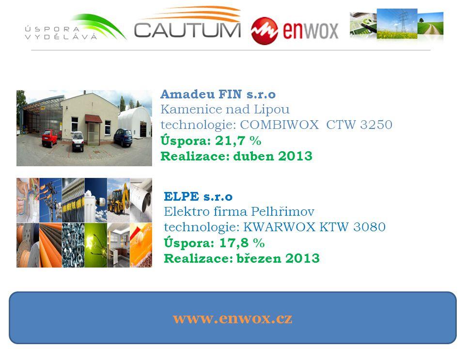www.enwox.cz Amadeu FIN s.r.o Kamenice nad Lipou technologie: COMBIWOX CTW 3250 Úspora: 21,7 % Realizace: duben 2013 ELPE s.r.o Elektro firma Pelhřimo