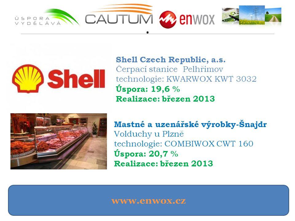 . Shell Czech Republic, a.s. Čerpací stanice Pelhřimov technologie: KWARWOX KWT 3032 Úspora: 19,6 % Realizace: březen 2013 Mastné a uzenářské výrobky-