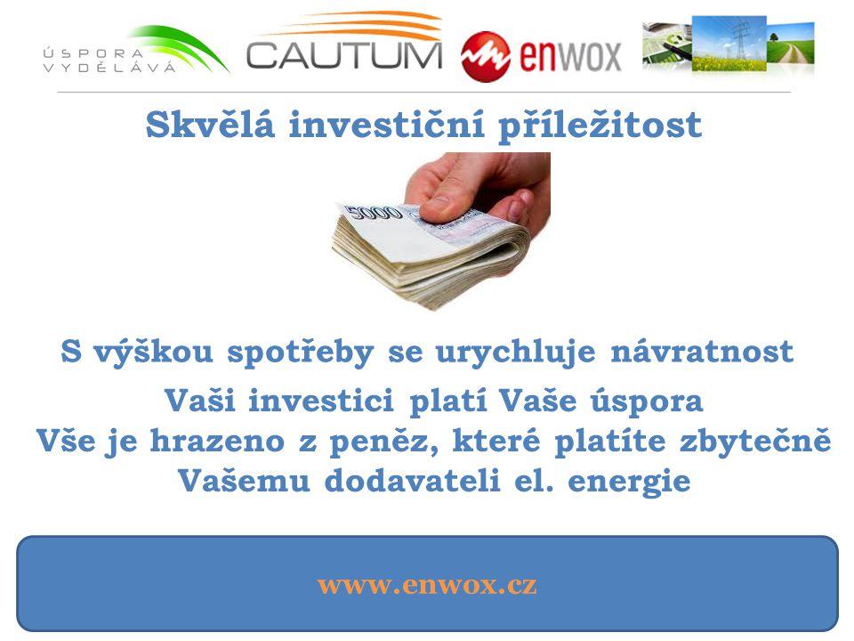 www.enwox.cz Skvělá investiční příležitost S výškou spotřeby se urychluje návratnost Vaši investici platí Vaše úspora Vše je hrazeno z peněz, které platíte zbytečně Vašemu dodavateli el.