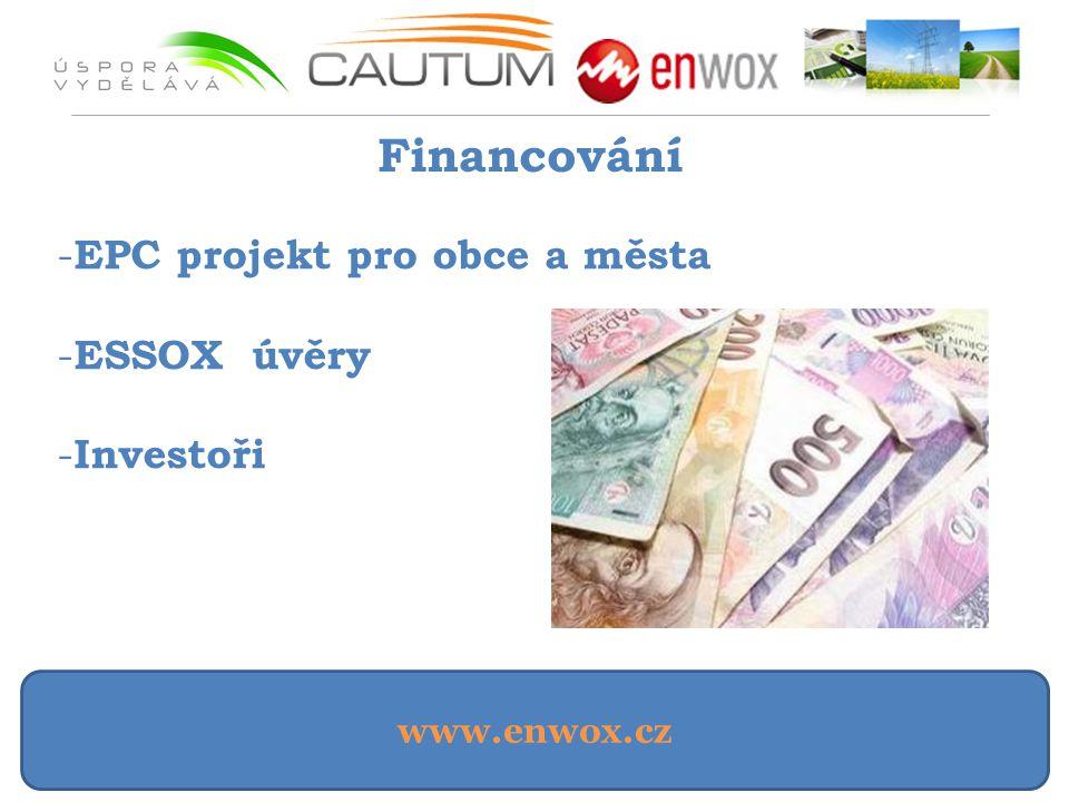 www.enwox.cz Financování - EPC projekt pro obce a města - ESSOX úvěry - Investoři