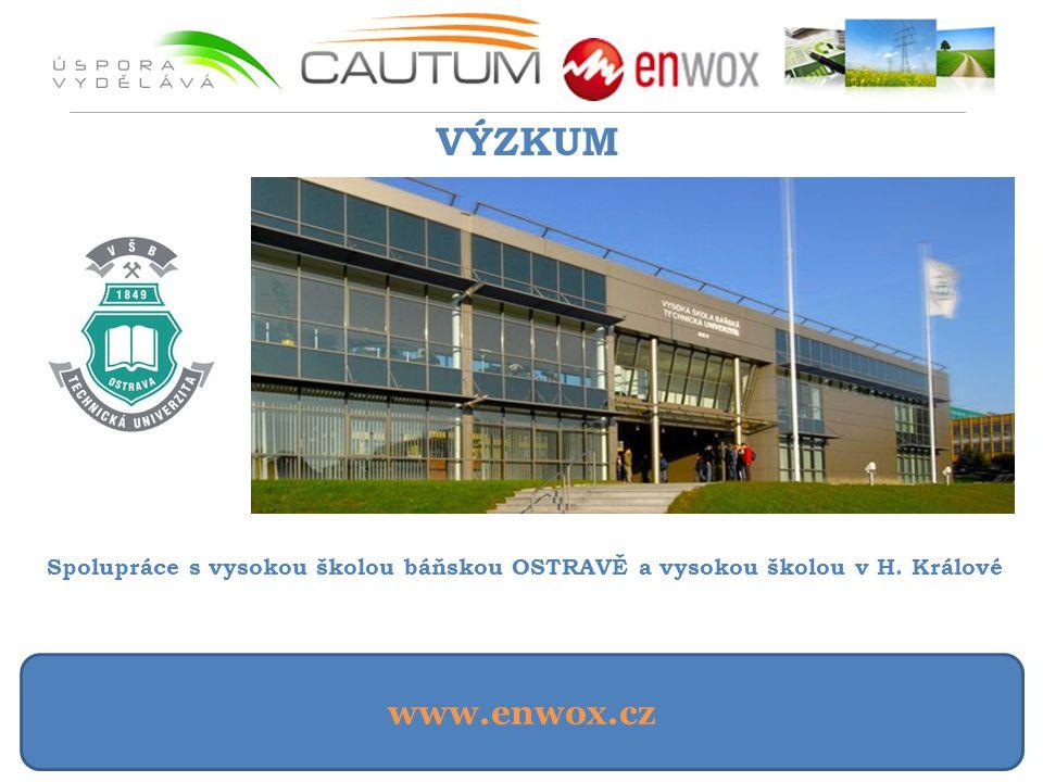www.enwox.cz VÝZKUM Spolupráce s vysokou školou báňskou OSTRAVĚ a vysokou školou v H. Králové