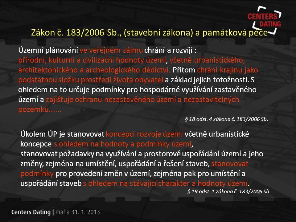 Zákon č. 183/2006 Sb., (stavební zákona) a památková péče Územní plánování ve veřejném zájmu chrání a rozvíjí : přírodní, kulturní a civilizační hodno