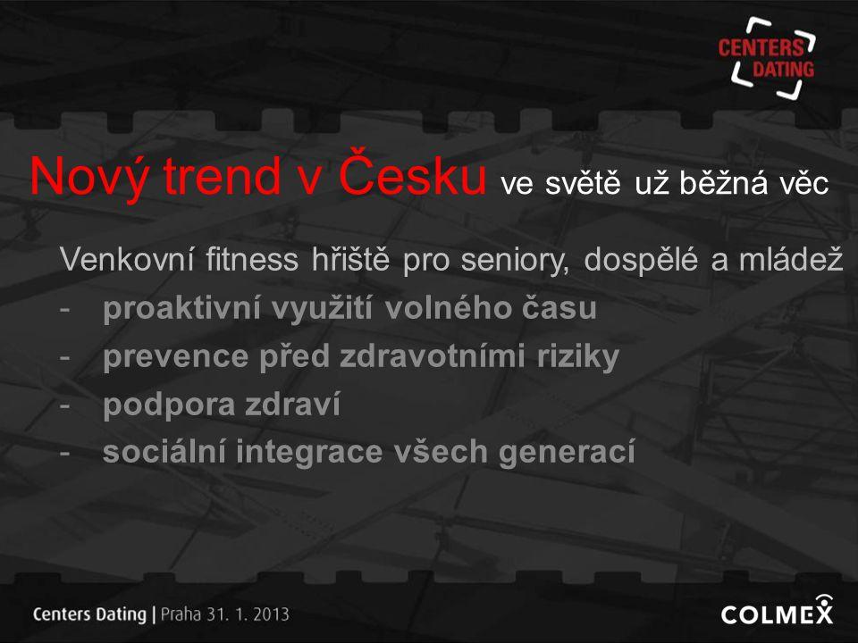 Nový trend v Česku ve světě už běžná věc Venkovní fitness hřiště pro seniory, dospělé a mládež -proaktivní využití volného času -prevence před zdravot