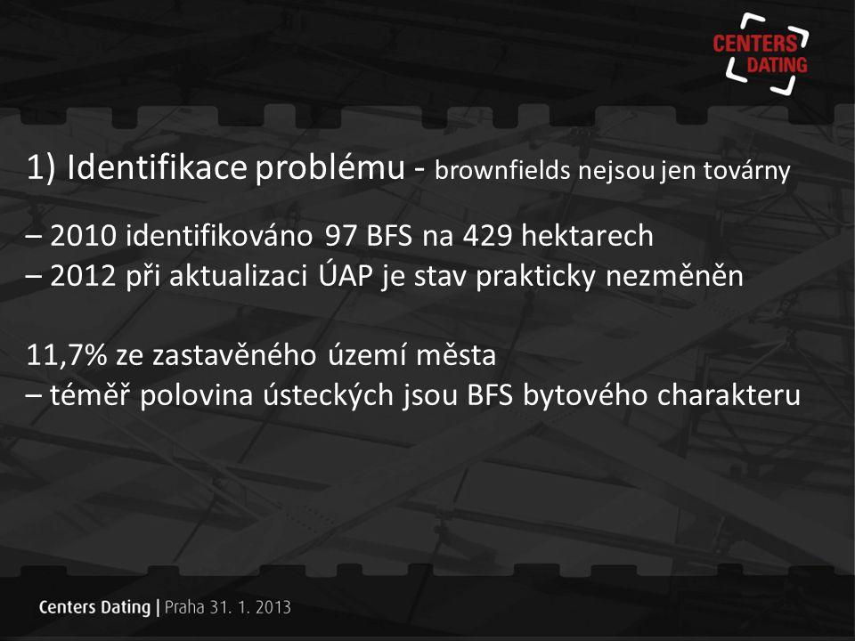 1) Identifikace problému - brownfields nejsou jen továrny – 2010 identifikováno 97 BFS na 429 hektarech – 2012 při aktualizaci ÚAP je stav prakticky n