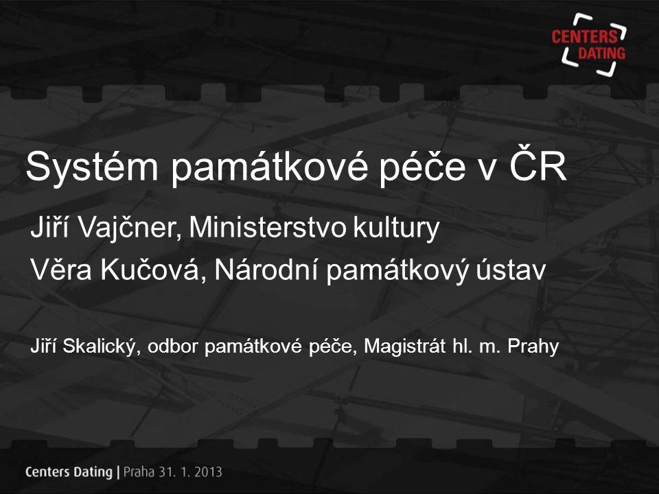 Systém památkové péče v ČR Jiří Vajčner, Ministerstvo kultury Věra Kučová, Národní památkový ústav Jiří Skalický, odbor památkové péče, Magistrát hl.