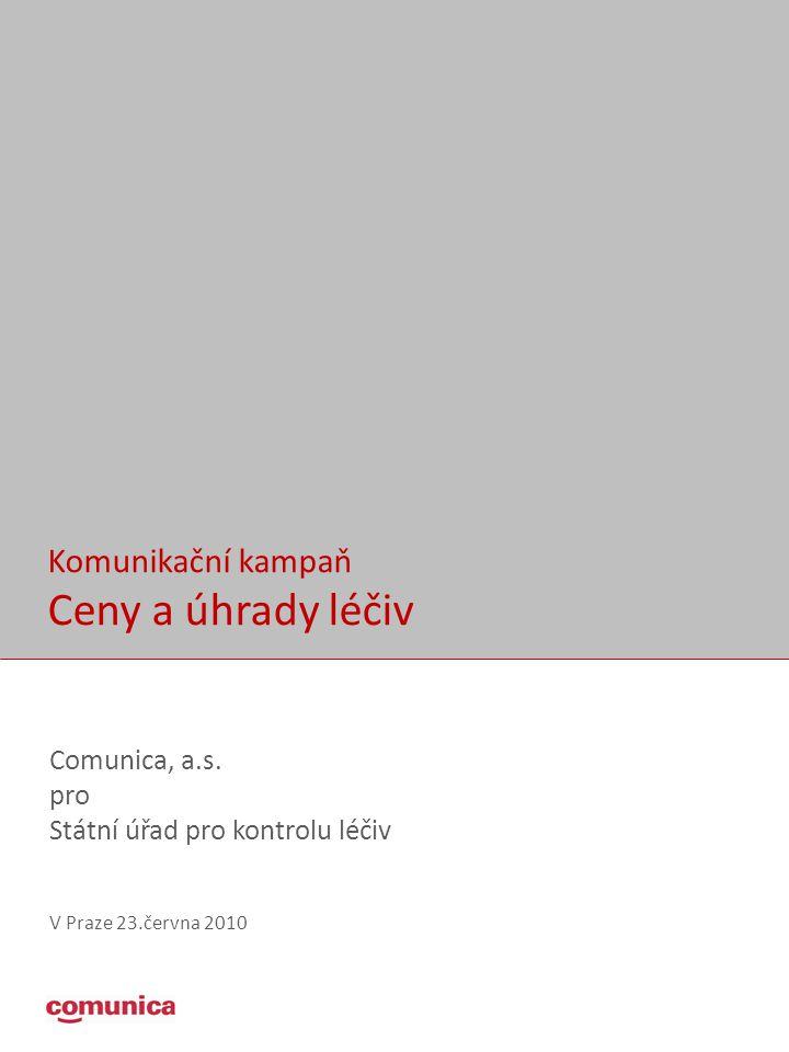 Komunikační kampaň Ceny a úhrady léčiv Comunica, a.s.