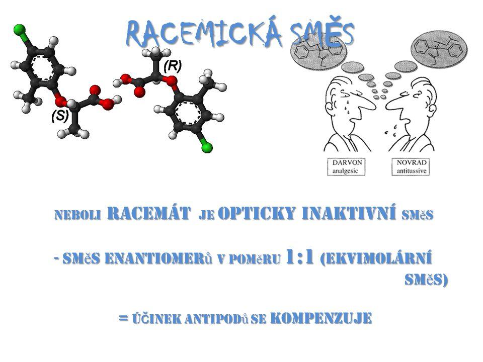 RACEMICKÁ SM Ě S neboli racemát je opticky inaktivní sm ě s - sm ě s enantiomer ů v pom ě ru 1:1 (ekvimolární sm ě s) = ú č inek antipod ů se kompenzu