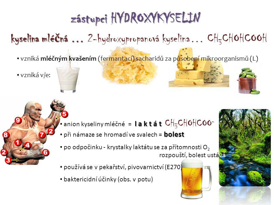 zástupci HYDROXYKYSELIN kyselina mlé č ná … kyselina mlé č ná … 2-hydroxypropanová kyselina… CH 3 CHOHCOOH • vzniká mléčným kvašením (fermantací) sach