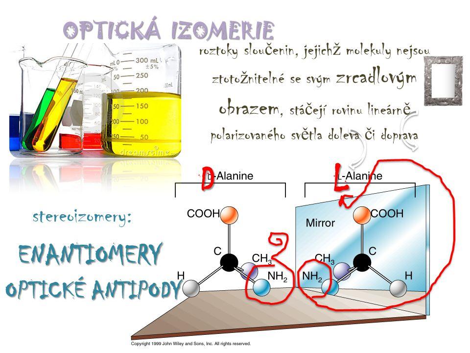 OPTICKÁ IZOMERIE roztoky slou č enin, jejich ž molekuly nejsou ztoto ž nitelné se svým zrcadlovým obrazem, stá č ejí rovinu lineárn ě polarizovaného s