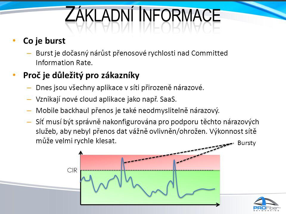 • Co je burst – Burst je dočasný nárůst přenosové rychlosti nad Committed Information Rate. • Proč je důležitý pro zákazníky – Dnes jsou všechny aplik