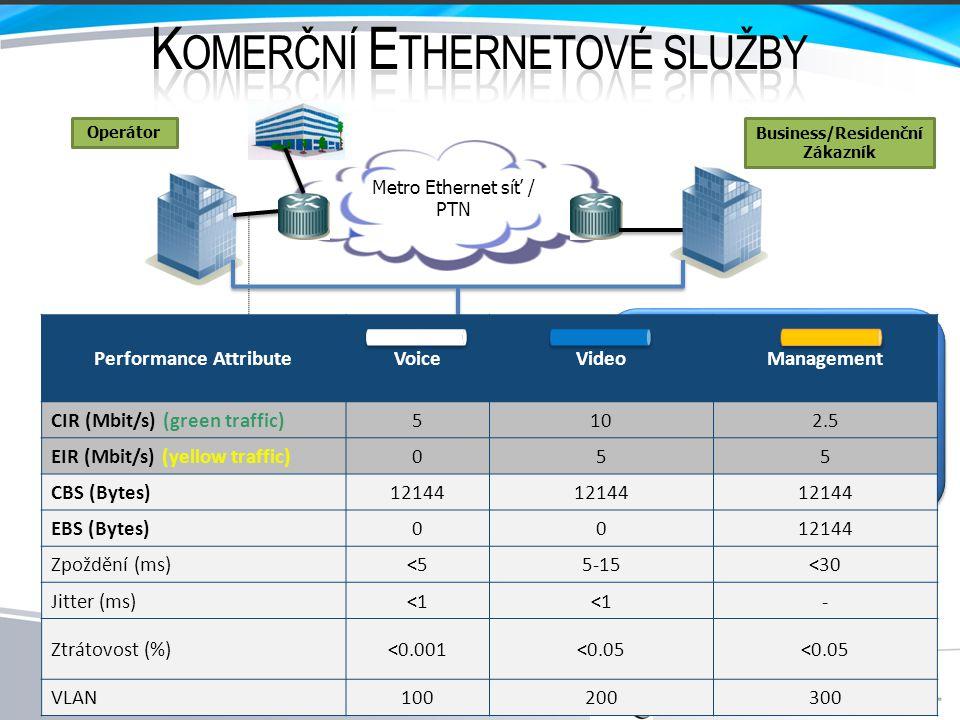Parametry: • Propustnost (Throughput) • Zatížitelnost linky (Burstability) • Ztráta a poškození rámců (Frame loss) • Zpoždění přenosu (Latency) • Kolísání zpoždění (Packet jitter) • Dostupnost služby (Availability) • Doba přepnutí na záložní linku (Protection swiching) Nutnost ověření výkonnostních kritérií při nasazení uživatelských služeb