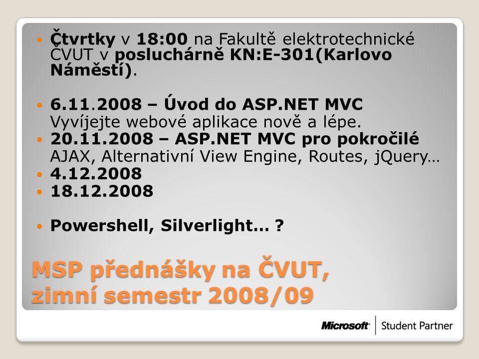 MSP přednášky na ČVUT, zimní semestr 2008/09  Čtvrtky v 18:00 na Fakultě elektrotechnické ČVUT v posluchárně KN:E-301(Karlovo Náměstí).  6.11.2008 –